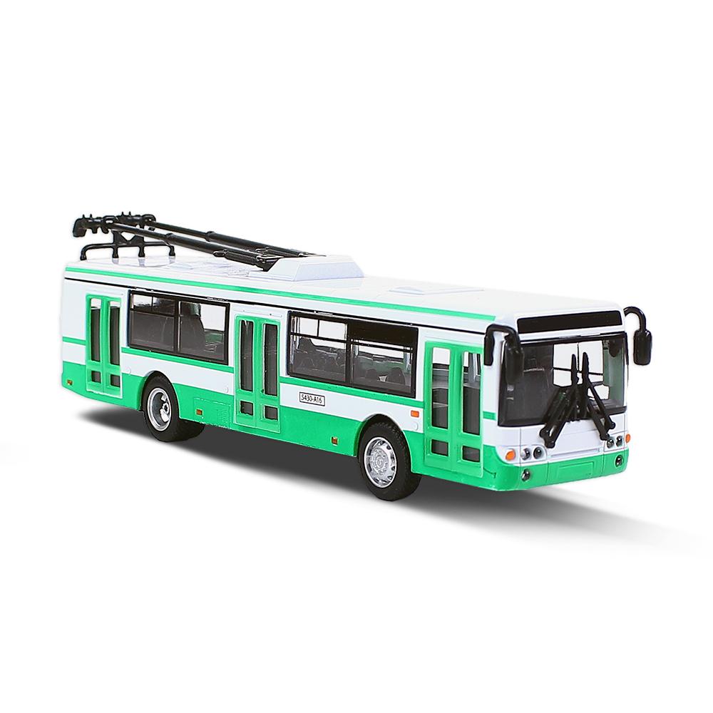Kovový trolejbus zelený 16 cm