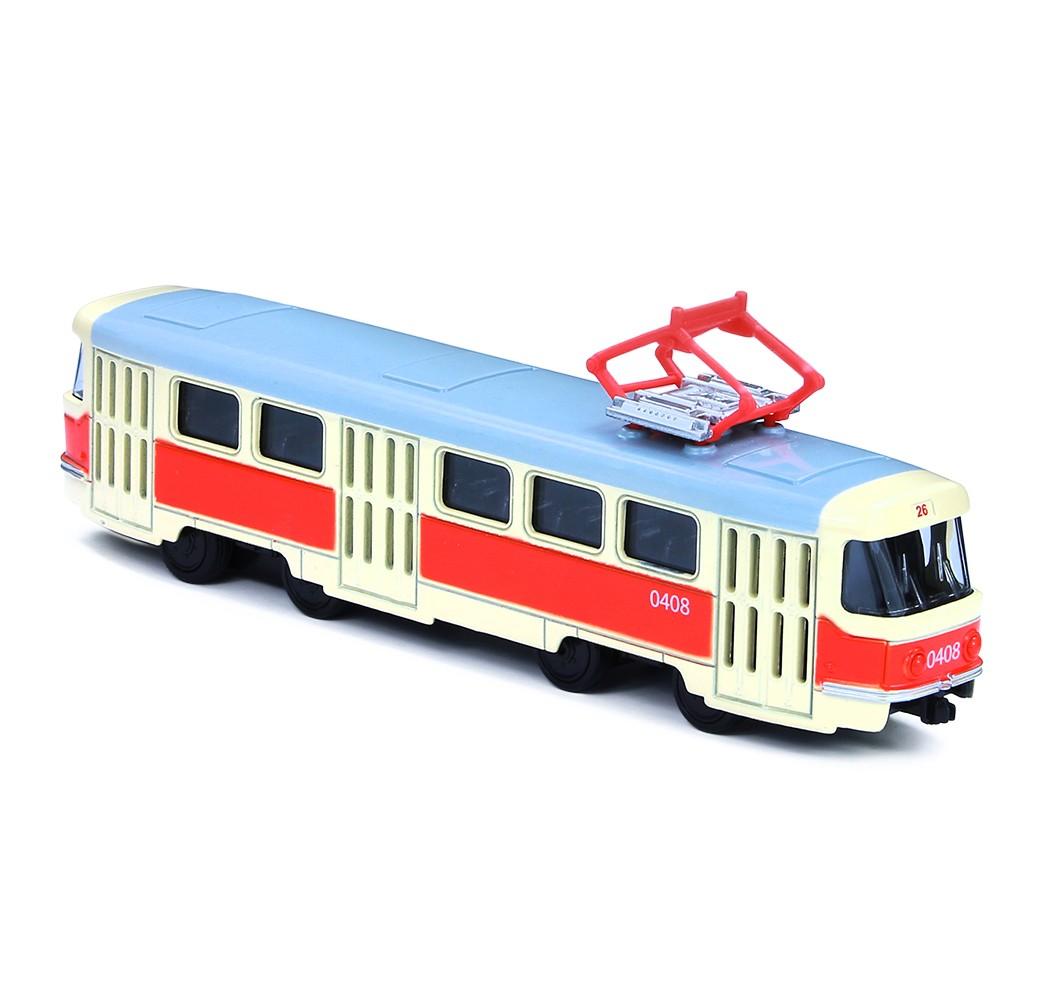 Kovová česká retro tramvaj 16 cm