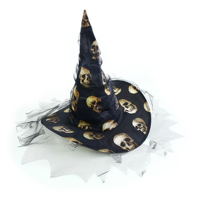 Klobouk Lebky čarodějnice/Halloween pro dospělé