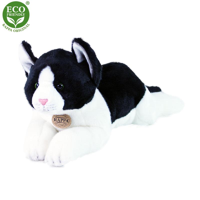 Plyšová kočka ležící černo-bílá 35 cm