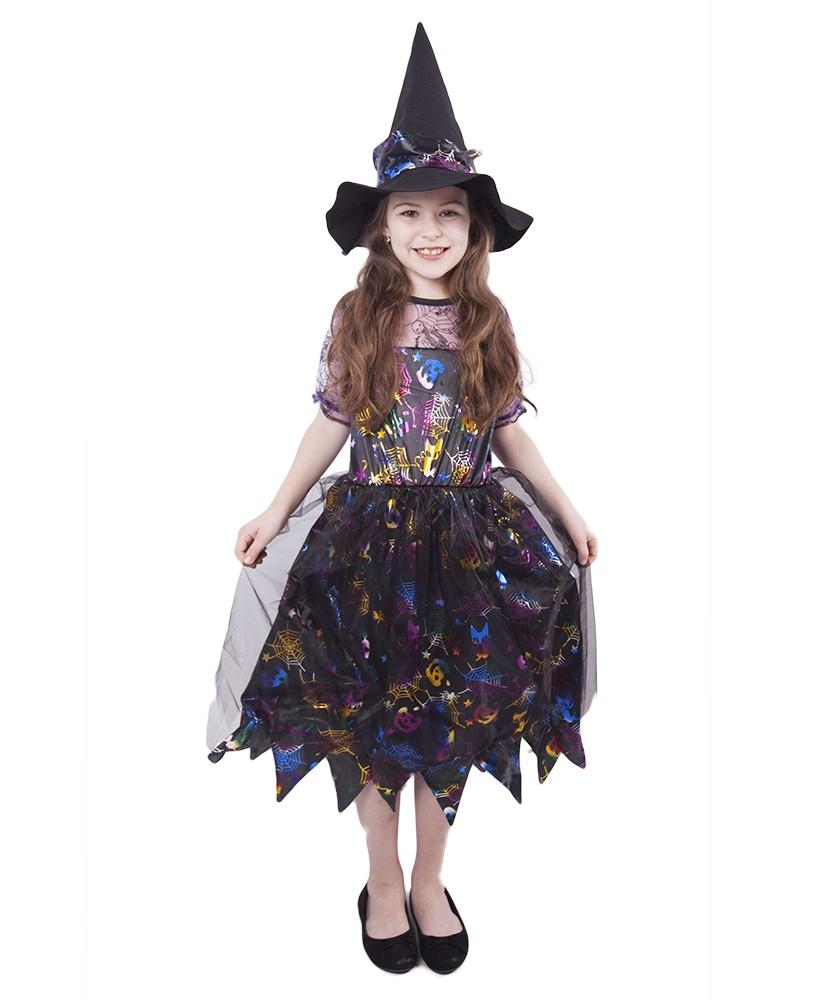 Dětský kostým čarodějnice barevná/Halloween (M)