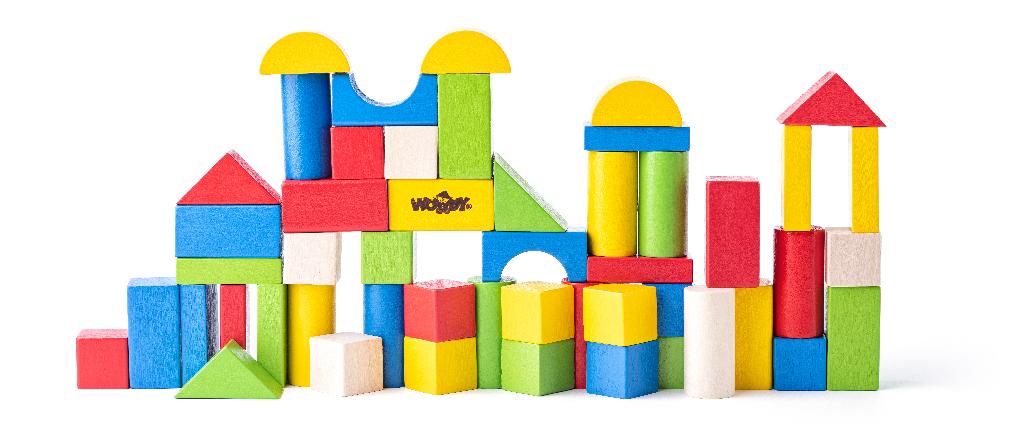 Dřevěné kostky barevné 50 ks - 2.5 cm