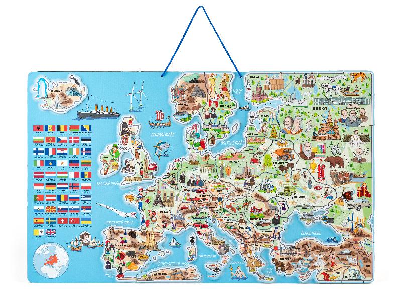 Magnetická mapa EVROPY s hrou 3 v 1