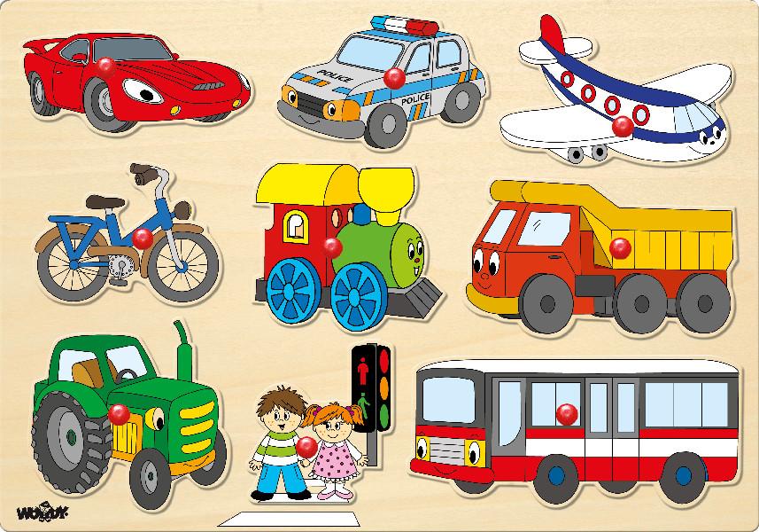 Puzzle na desce - Dopravní prostředky