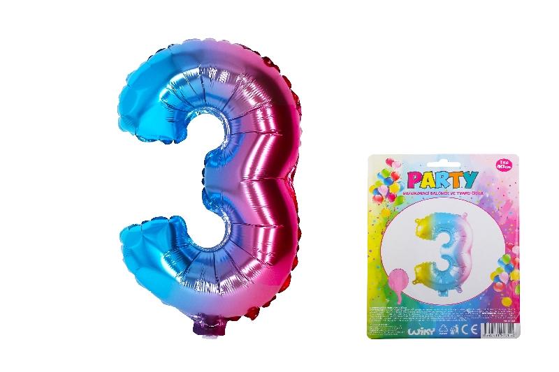 Balónek nafukovací - číslo 3 duhový