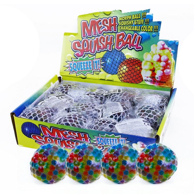 Duhový bublinový míček s kuličovou výplní 6 cm